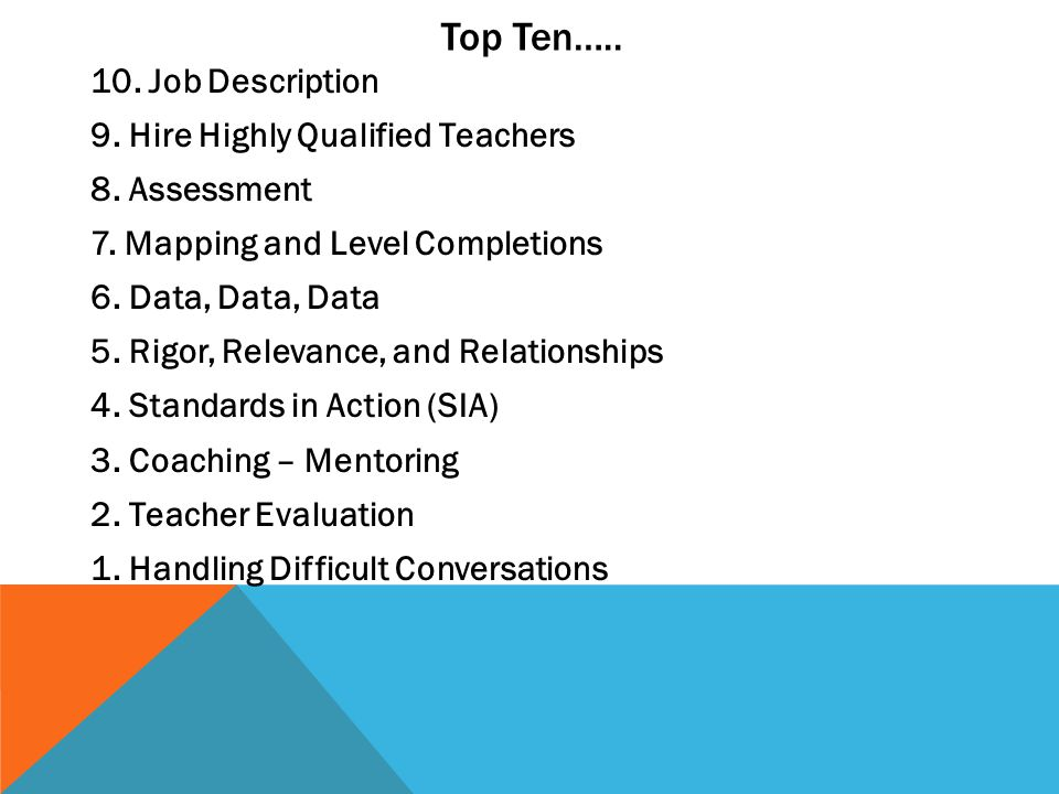 Top Ten….. 10. Job Description 9. Hire Highly Qualified Teachers 8. Assessment 7. Mapping and Level Completions 6. Data, Data, Data 5. Rigor, Relevanc