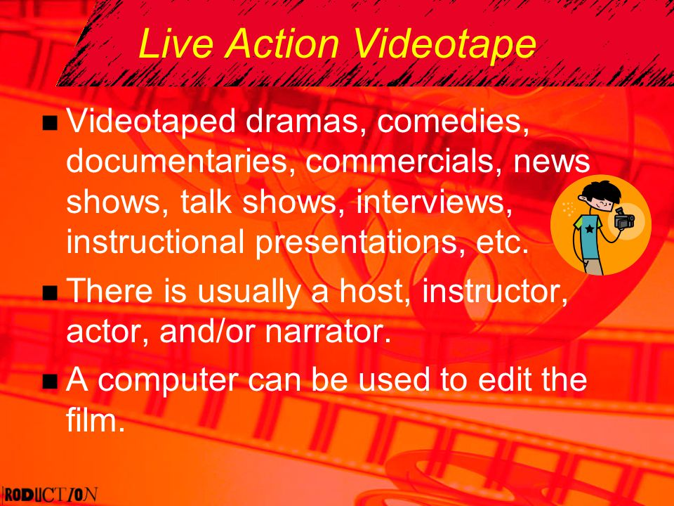 Live Action Videotape Videotaped dramas, comedies, documentaries, commercials, news shows, talk shows, interviews, instructional presentations, etc. T