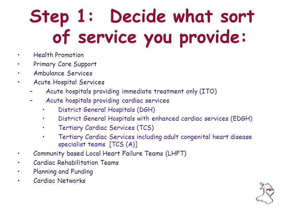 Step 1: Decide what sort of service you provide: Health Promotion Primary Care Support Ambulance Services Acute Hospital Services –Acute hospitals providing immediate treatment only (ITO) –Acute hospitals providing cardiac services District General Hospitals (DGH) District General Hospitals with enhanced cardiac services (EDGH) Tertiary Cardiac Services (TCS) Tertiary Cardiac Services including adult congenital heart disease specialist teams [TCS (A)] Community based Local Heart Failure Teams (LHFT) Cardiac Rehabilitation Teams Planning and Funding Cardiac Networks