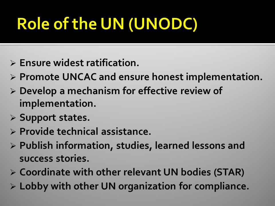  Ensure widest ratification.  Promote UNCAC and ensure honest implementation.