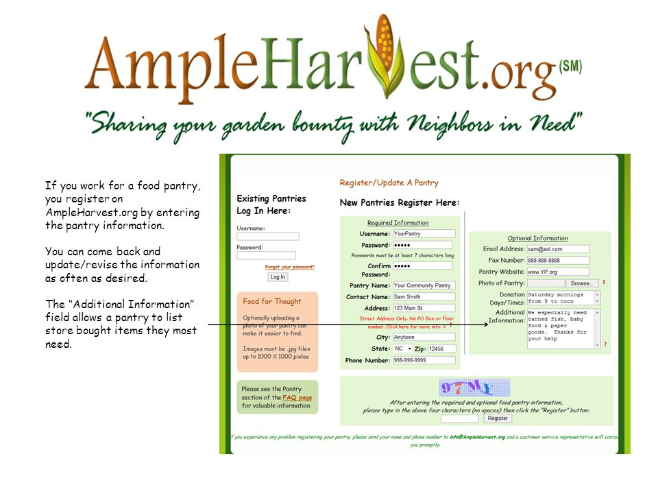 If you work for a food pantry, you register on AmpleHarvest.org by entering the pantry information.