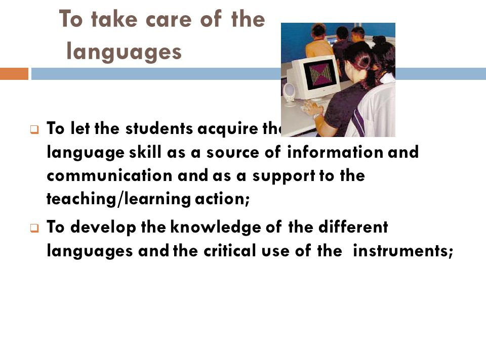 To take care of the languages  To let the students acquire the information language skill as a source of information and communication and as a suppo
