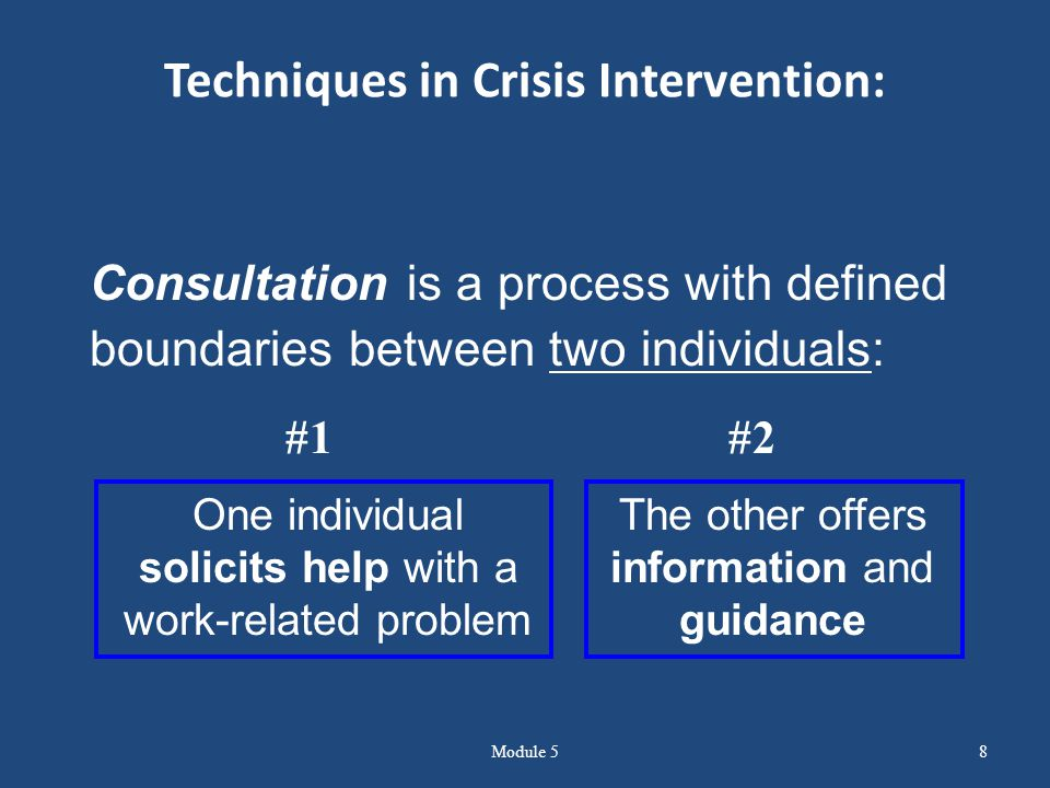 Techniques in Crisis Intervention: Module 58 Consultation is a process with defined boundaries between two individuals: One individual solicits help with a work-related problem The other offers information and guidance #1 #2