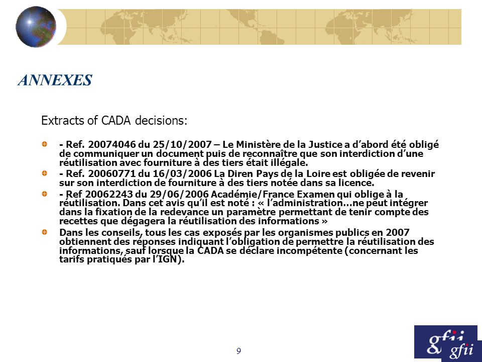 9 ANNEXES Extracts of CADA decisions: - Ref.