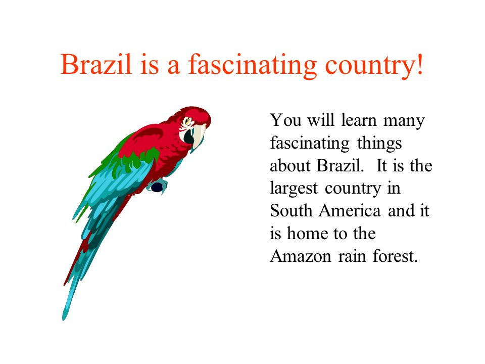 Brazil is a fascinating country.You will learn many fascinating things about Brazil.