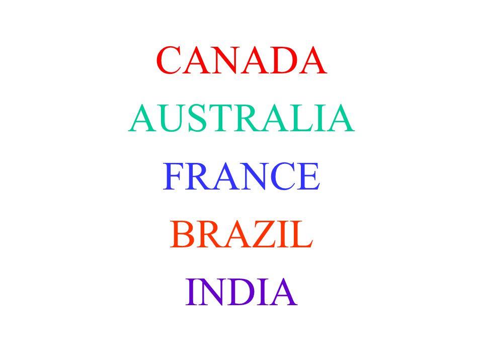 CANADA AUSTRALIA FRANCE BRAZIL INDIA