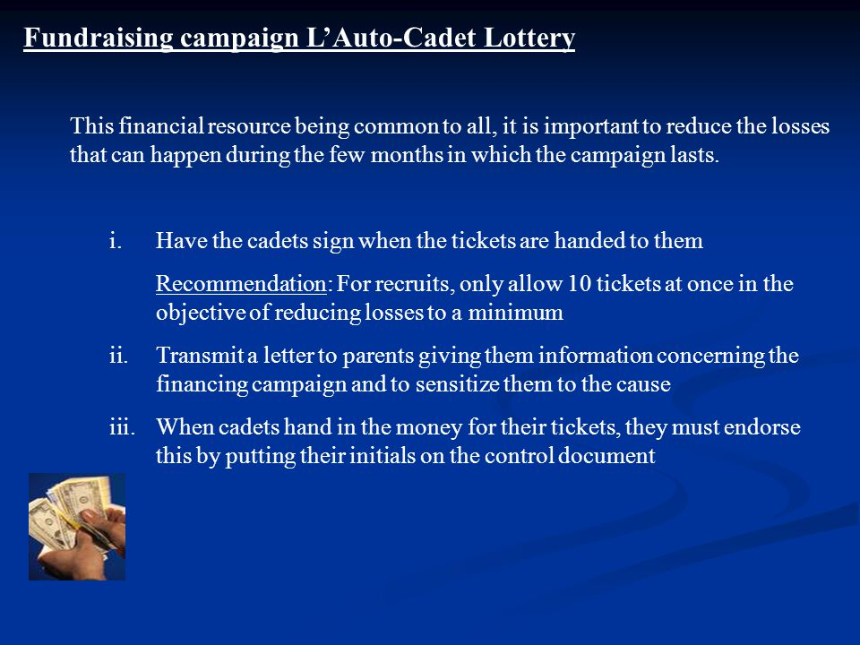 Fundraising campaign L'Auto-Cadet Lottery This financial resource being common to all, it is important to reduce the losses that can happen during the few months in which the campaign lasts.