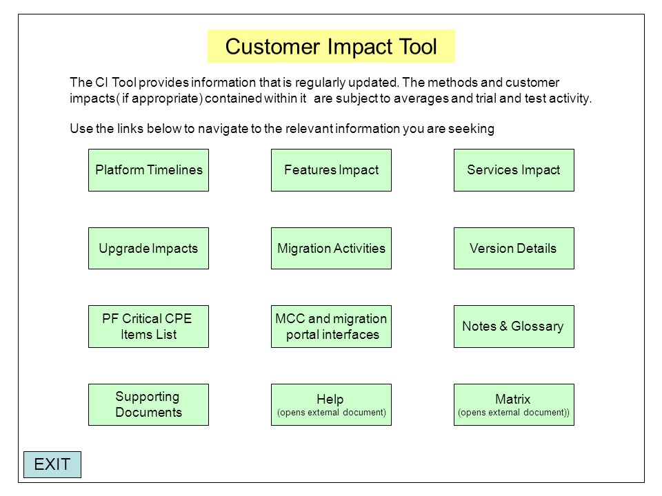 Customer Impact Tool Platform TimelinesFeatures ImpactServices Impact Version DetailsMigration Activities MCC and migration portal interfaces PF Critical CPE Items List Help (opens external document) Upgrade Impacts Notes & Glossary Supporting Documents Matrix (opens external document)) The CI Tool provides information that is regularly updated.