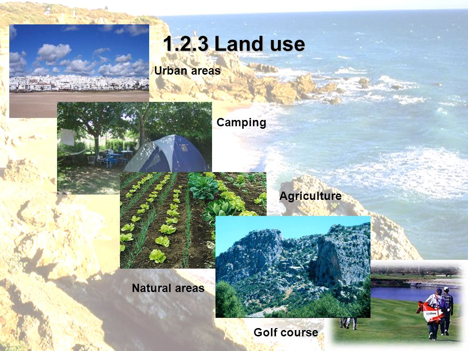 1.2.3 Land use Urban areas Natural areas Camping Agriculture Golf course