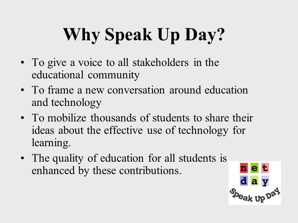 Why Speak Up Day.