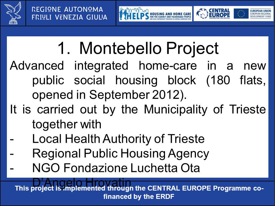 Al servizio di gente unica This project is implemented through the CENTRAL EUROPE Programme co- financed by the ERDF 1.Montebello Project Advanced integrated home-care in a new public social housing block (180 flats, opened in September 2012).