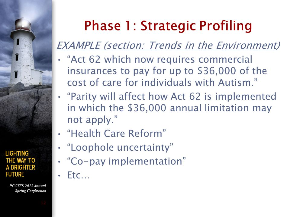PCCYFS 2012 Annual Spring Conference 12 Phase 1: Strategic Profiling EXAMPLE (section: Trends in the Environment) Act 62 which now requires commercial insurances to pay for up to $36,000 of the cost of care for individuals with Autism. Parity will affect how Act 62 is implemented in which the $36,000 annual limitation may not apply. Health Care Reform Loophole uncertainty Co-pay implementation Etc…
