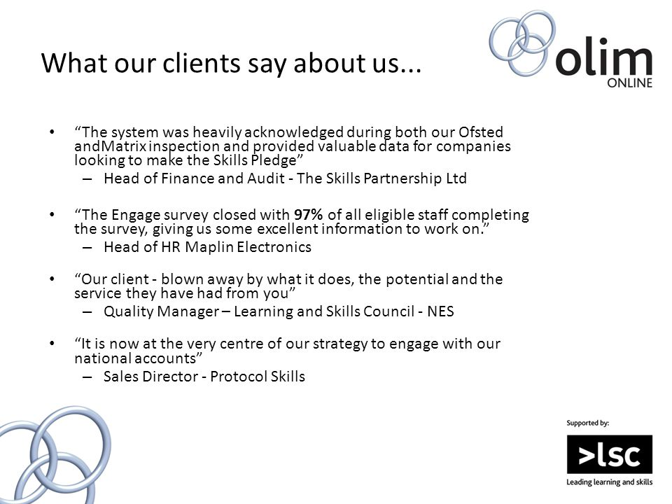 What our clients say about us...