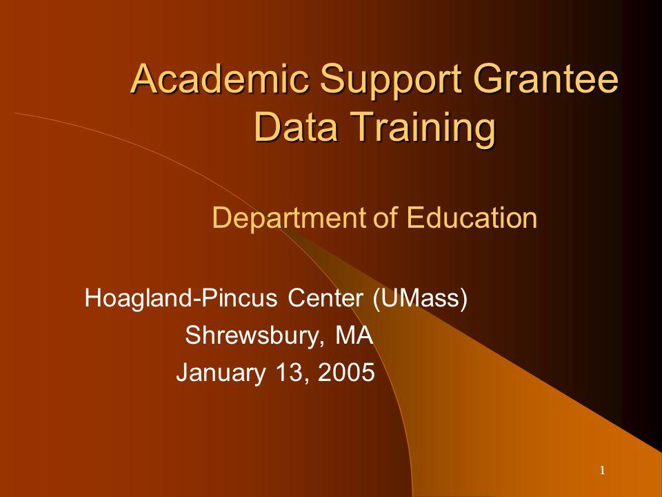 1 Academic Support Grantee Data Training Academic Support Grantee Data Training Department of Education Hoagland-Pincus Center (UMass) Shrewsbury, MA January 13, 2005