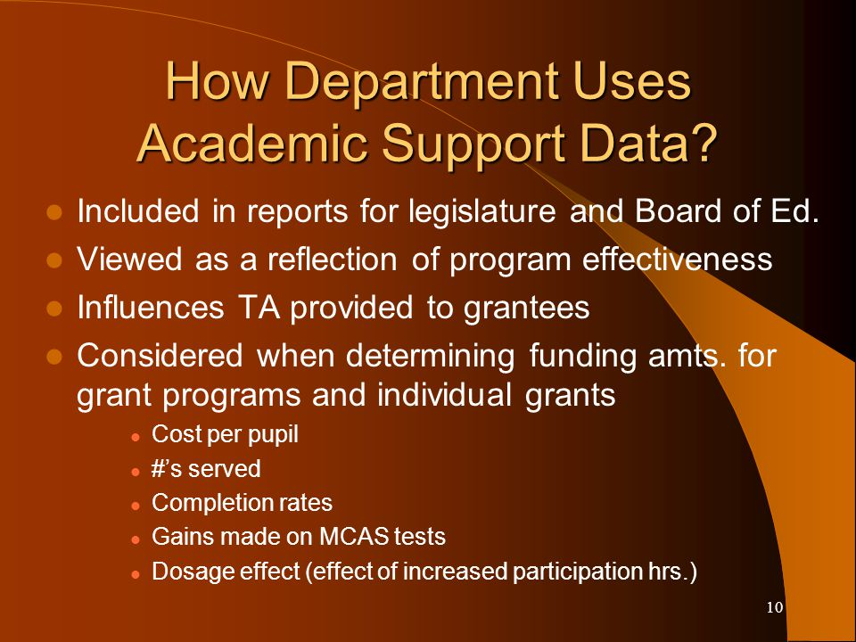 10 Included in reports for legislature and Board of Ed. Viewed as a reflection of program effectiveness Influences TA provided to grantees Considered