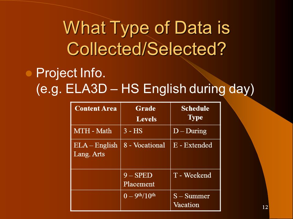 12 What Type of Data is Collected/Selected. Project Info.