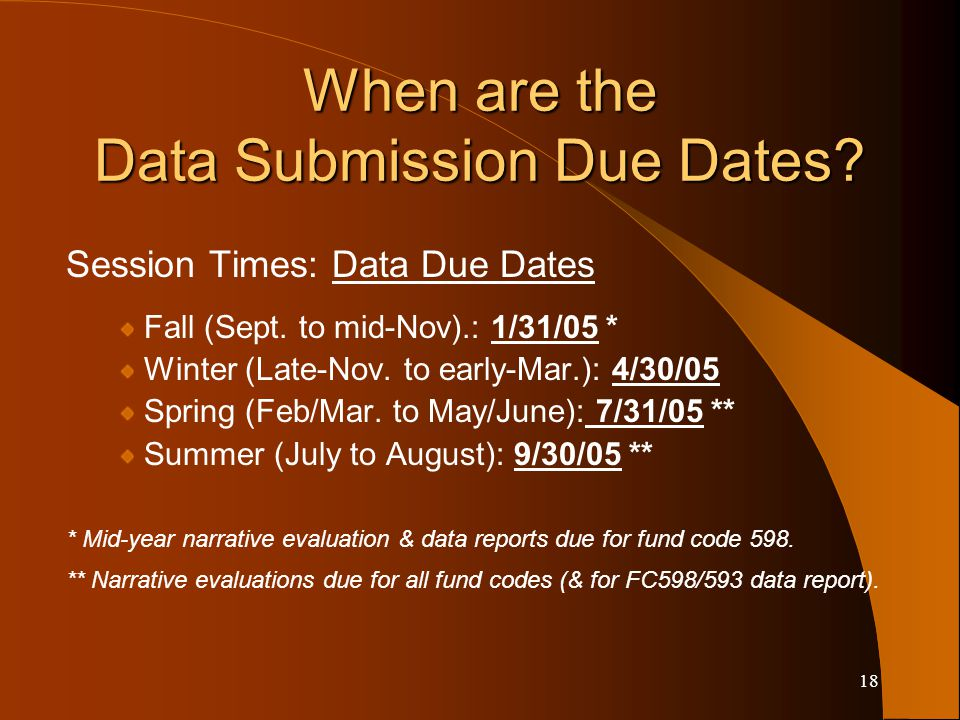 18 When are the Data Submission Due Dates. Session Times: Data Due Dates Fall (Sept.