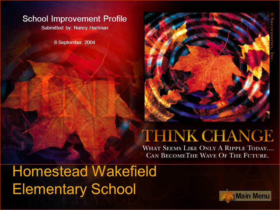Homestead Wakefield Elementary School School Improvement Profile Submitted by: Nancy Hartman 8 September 2004