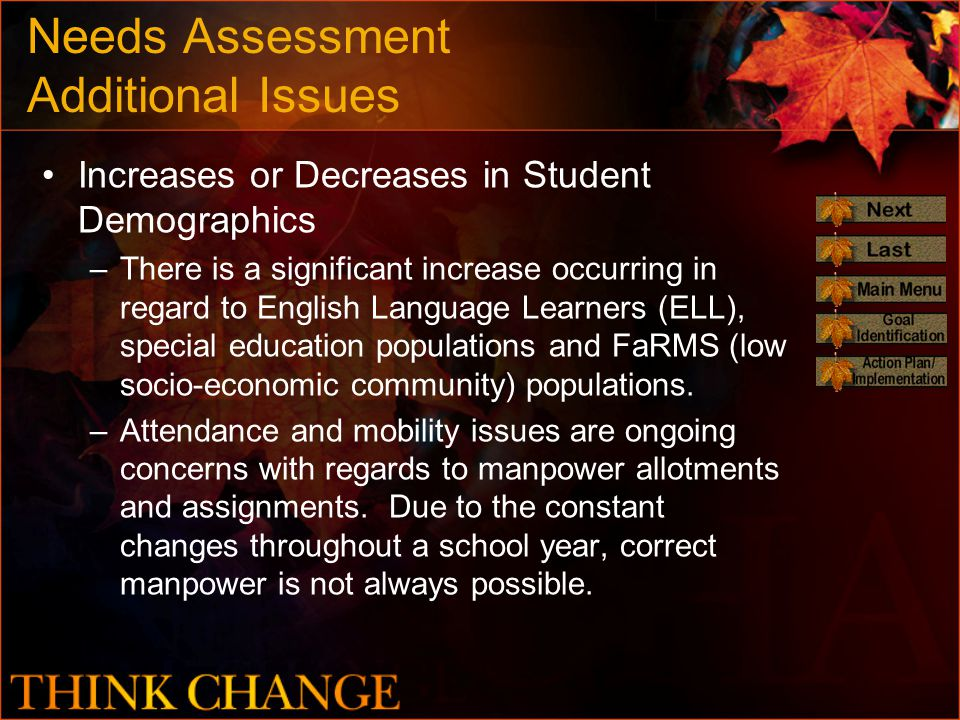 Needs Assessment Additional Issues Increases or Decreases in Student Demographics –There is a significant increase occurring in regard to English Language Learners (ELL), special education populations and FaRMS (low socio-economic community) populations.