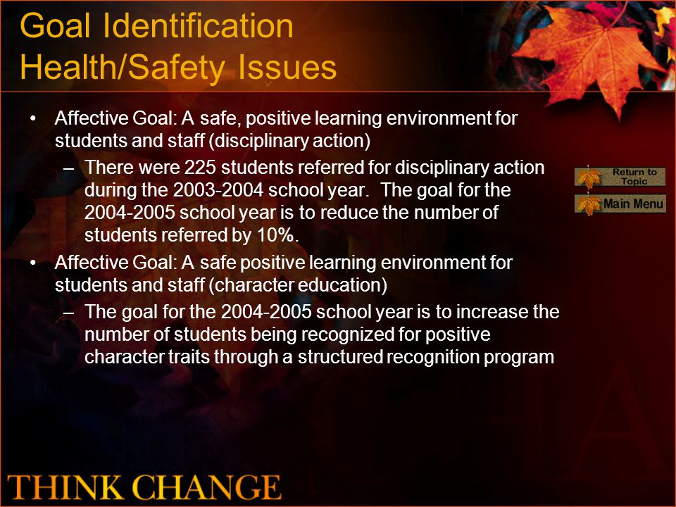 Goal Identification Health/Safety Issues Affective Goal: A safe, positive learning environment for students and staff (disciplinary action) –There were 225 students referred for disciplinary action during the 2003-2004 school year.