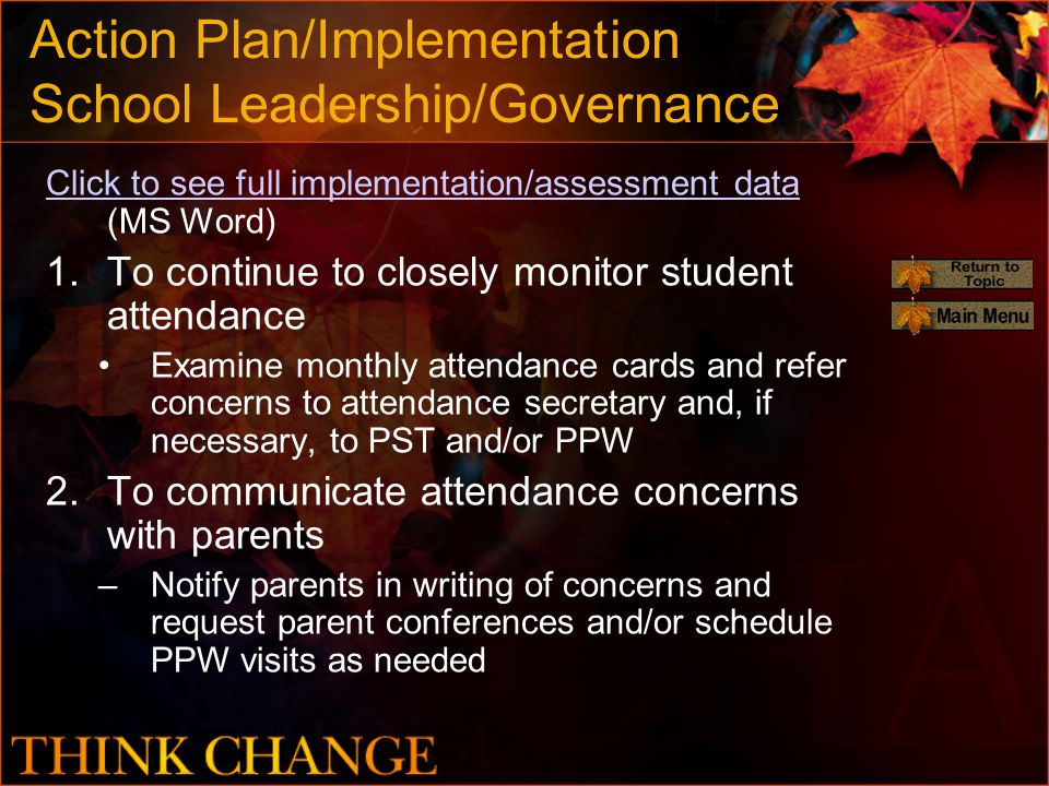 Action Plan/Implementation School Leadership/Governance Click to see full implementation/assessment data Click to see full implementation/assessment data (MS Word) 1.To continue to closely monitor student attendance Examine monthly attendance cards and refer concerns to attendance secretary and, if necessary, to PST and/or PPW 2.To communicate attendance concerns with parents –Notify parents in writing of concerns and request parent conferences and/or schedule PPW visits as needed