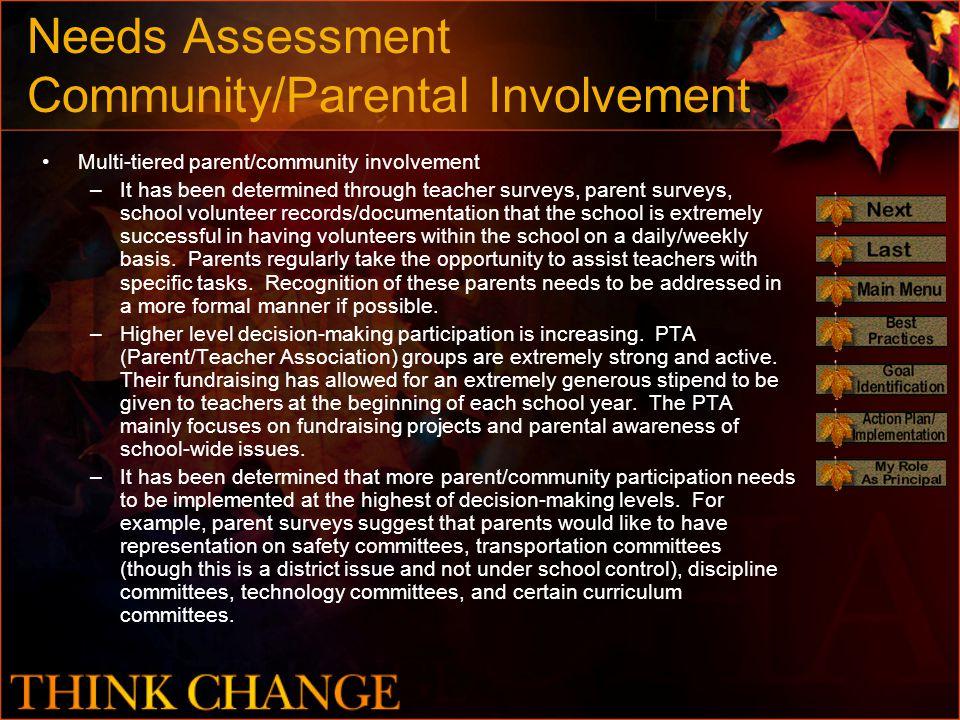 Needs Assessment Community/Parental Involvement Multi-tiered parent/community involvement –It has been determined through teacher surveys, parent surv