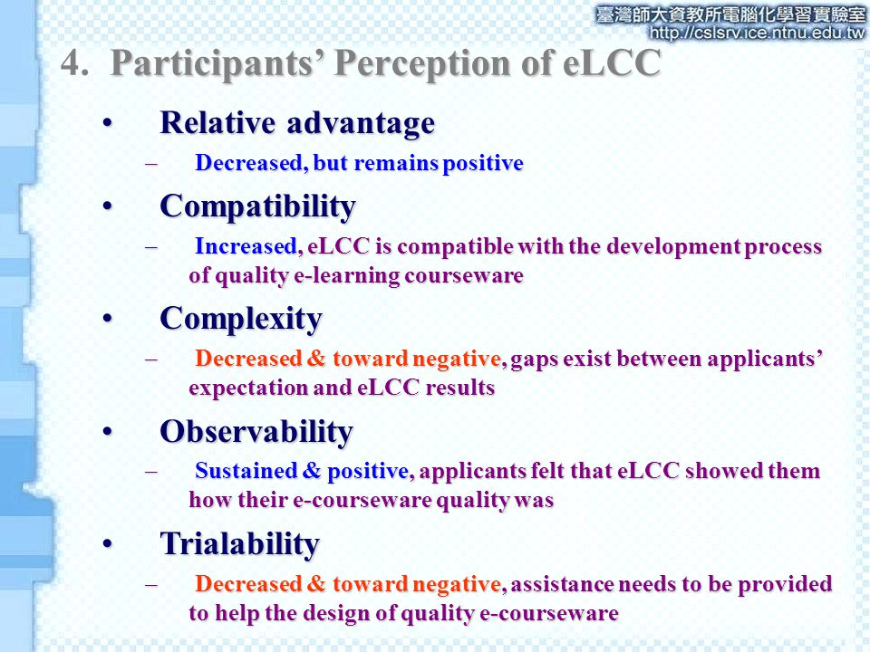 Relative advantageRelative advantage – Decreased, but remains positive CompatibilityCompatibility – Increased, eLCC is compatible with the development process of quality e-learning courseware ComplexityComplexity – Decreased & toward negative, gaps exist between applicants' expectation and eLCC results ObservabilityObservability – Sustained & positive, applicants felt that eLCC showed them how their e-courseware quality was TrialabilityTrialability – Decreased & toward negative, assistance needs to be provided to help the design of quality e-courseware
