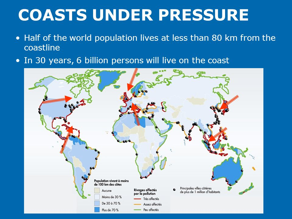 COASTS UNDER PRESSURE Half of the world population lives at less than 80 km from the coastline In 30 years, 6 billion persons will live on the coast