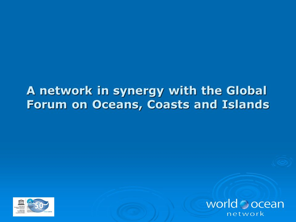 A network in synergy with the Global Forum on Oceans, Coasts and Islands