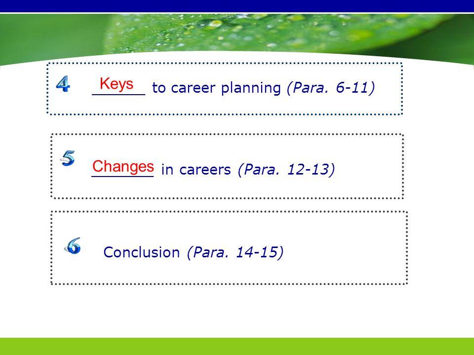 _______ in careers (Para. 12-13) Conclusion (Para.