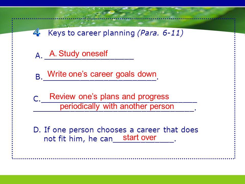 Keys to career planning (Para. 6-11) A.___________________ B.________________________.