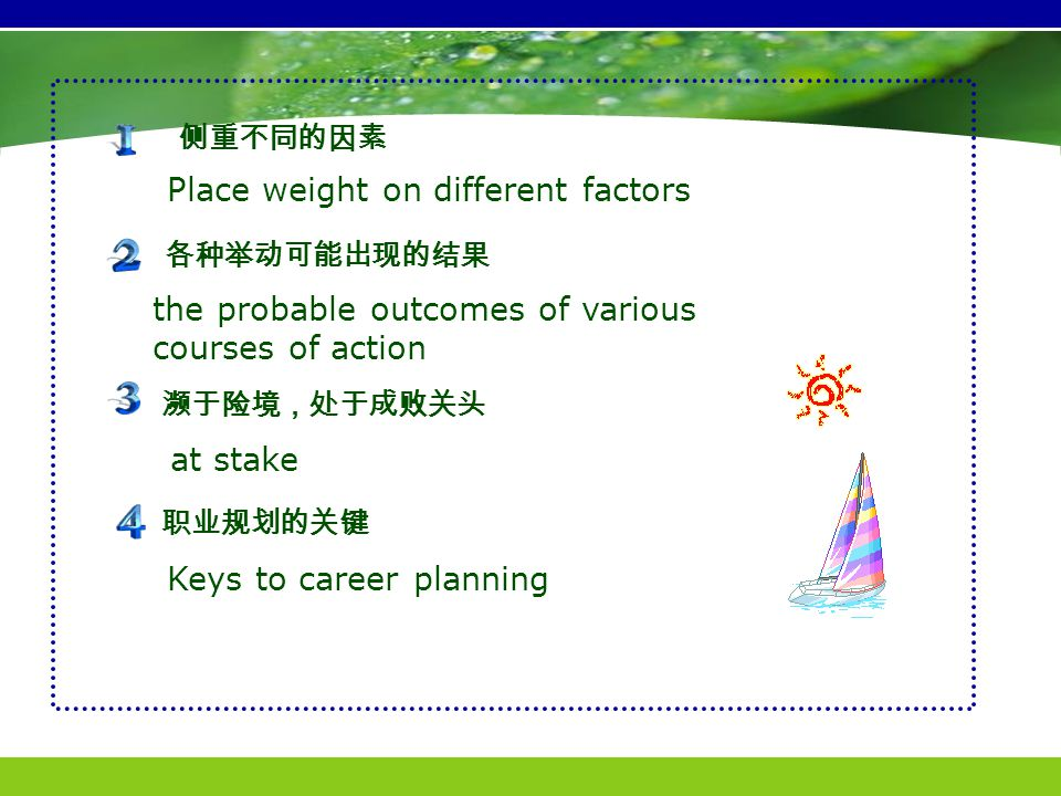Place weight on different factors at stake the probable outcomes of various courses of action 侧重不同的因素 濒于险境,处于成败关头 各种举动可能出现的结果 Keys to career planning 职业规划的关键