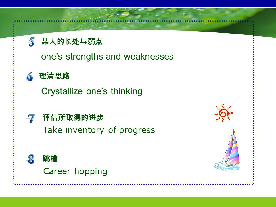 one's strengths and weaknesses Crystallize one's thinking 某人的长处与弱点 理清思路 Take inventory of progress 评估所取得的进步 Career hopping 跳槽