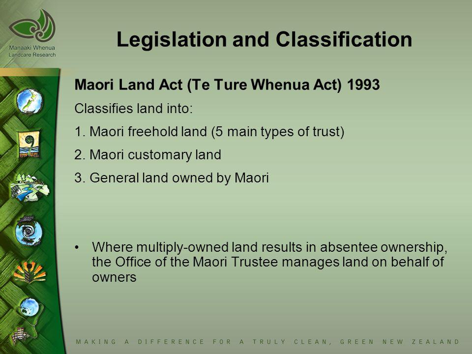 Legislation and Classification Maori Land Act (Te Ture Whenua Act) 1993 Classifies land into: 1.