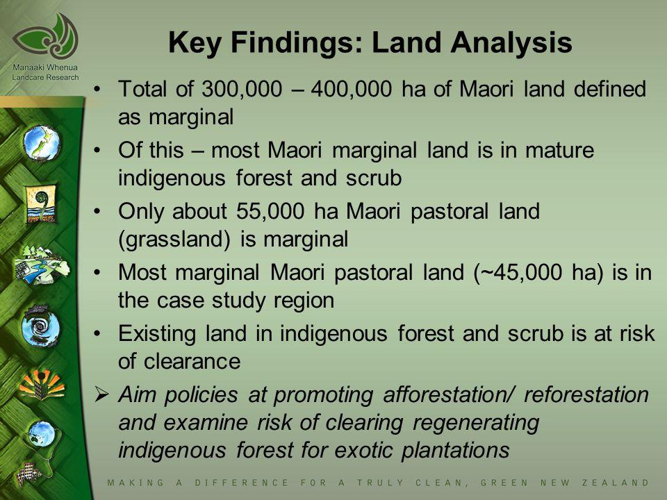 Key Findings: Land Analysis Total of 300,000 – 400,000 ha of Maori land defined as marginal Of this – most Maori marginal land is in mature indigenous