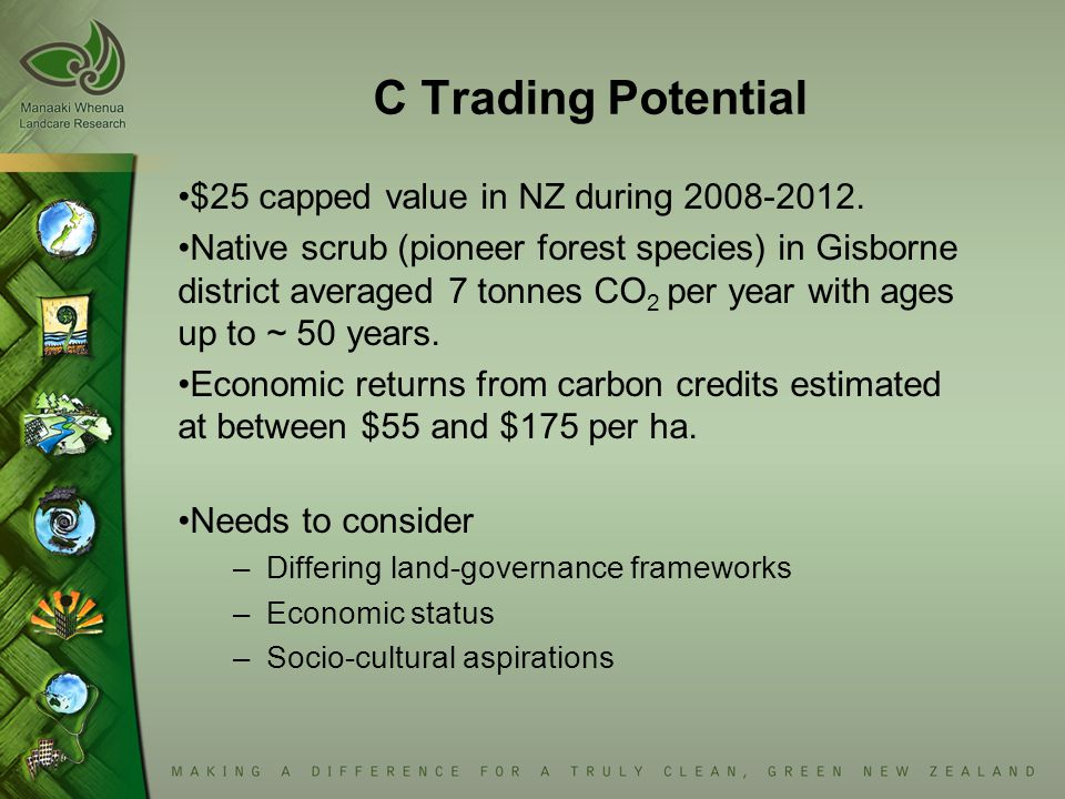 C Trading Potential $25 capped value in NZ during 2008-2012. Native scrub (pioneer forest species) in Gisborne district averaged 7 tonnes CO 2 per yea
