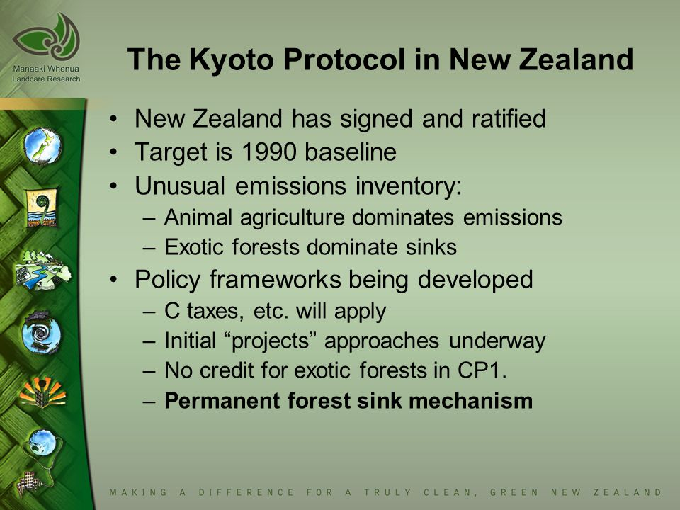 The Kyoto Protocol in New Zealand New Zealand has signed and ratified Target is 1990 baseline Unusual emissions inventory: –Animal agriculture dominates emissions –Exotic forests dominate sinks Policy frameworks being developed –C taxes, etc.