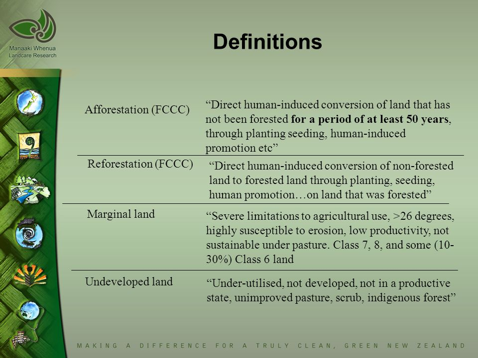 Afforestation (FCCC) Direct human-induced conversion of land that has not been forested for a period of at least 50 years, through planting seeding, human-induced promotion etc Reforestation (FCCC) Direct human-induced conversion of non-forested land to forested land through planting, seeding, human promotion…on land that was forested Marginal land Severe limitations to agricultural use, >26 degrees, highly susceptible to erosion, low productivity, not sustainable under pasture.
