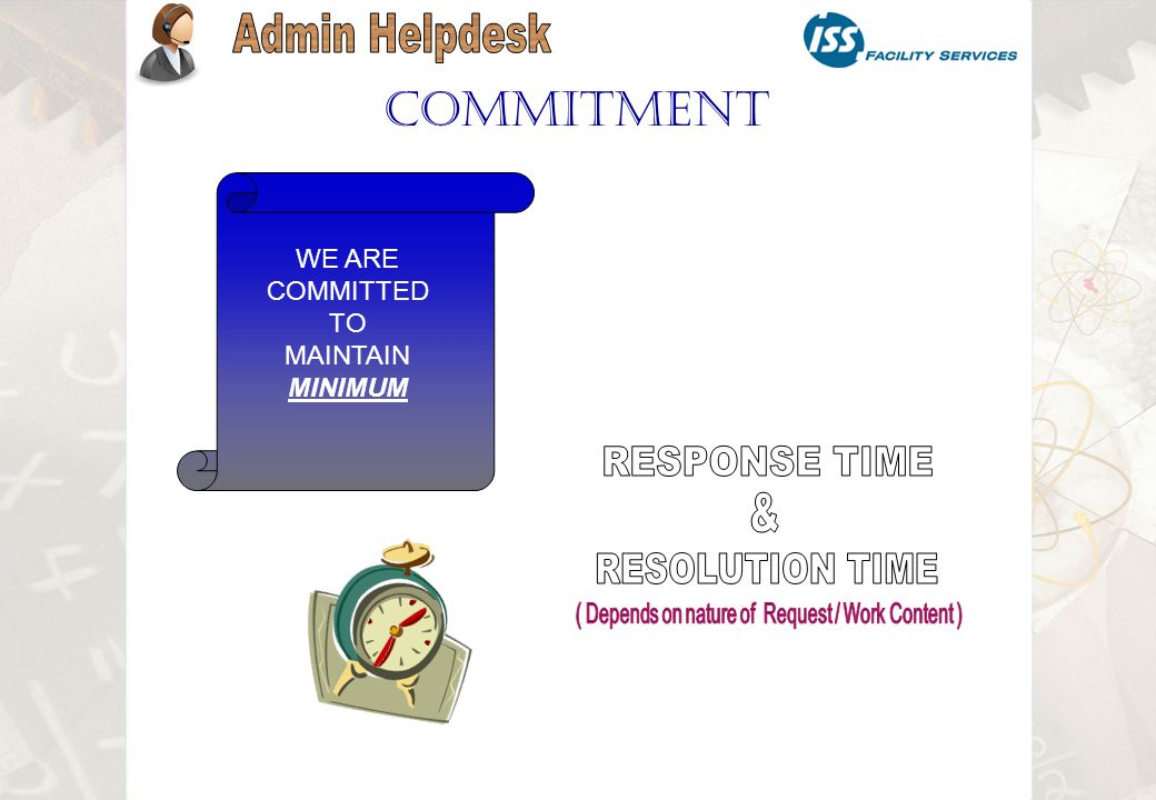 Commitment WE ARE COMMITTED TO MAINTAIN MINIMUM