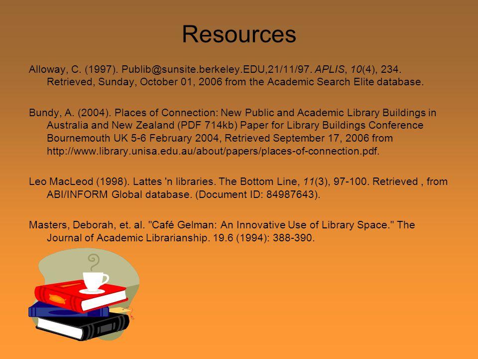 Resources Alloway, C. (1997). Publib@sunsite.berkeley.EDU,21/11/97. APLIS, 10(4), 234. Retrieved, Sunday, October 01, 2006 from the Academic Search El