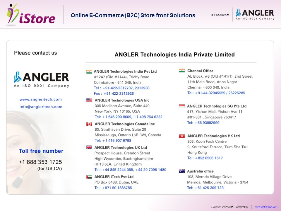 Online E-Commerce (B2C) Store front Solutions a Product of Copyright © ANGLER Technologieswww.angleritech.com