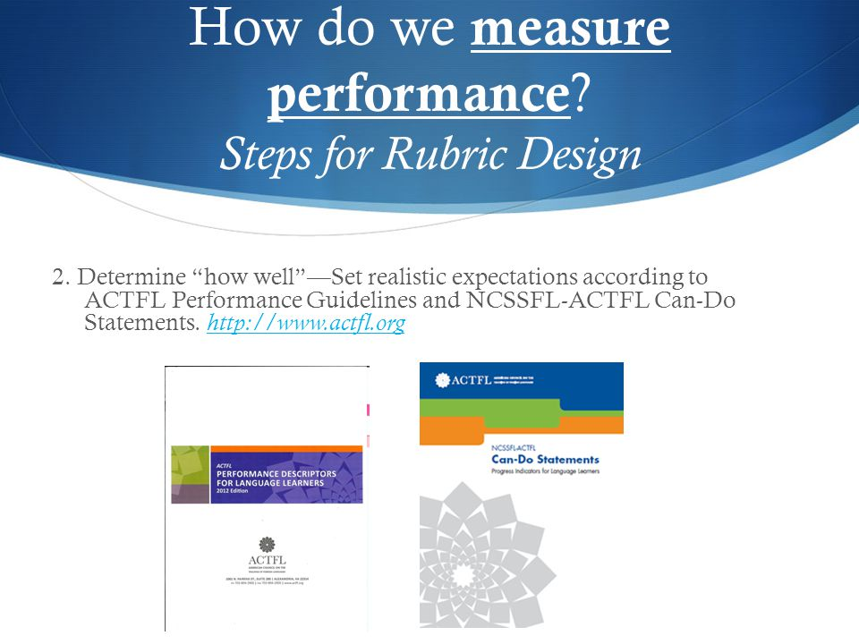 "2. Determine ""how well""—Set realistic expectations according to ACTFL Performance Guidelines and NCSSFL-ACTFL Can-Do Statements. http://www.actfl.org"