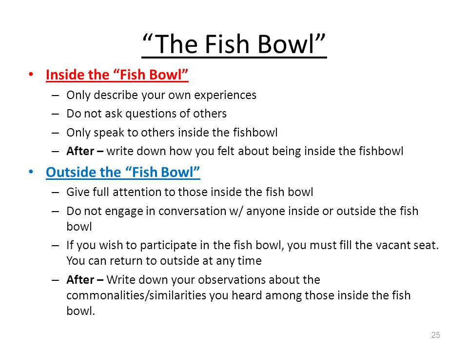 """""""The Fish Bowl"""" Inside the """"Fish Bowl"""" – Only describe your own experiences – Do not ask questions of others – Only speak to others inside the fishbow"""