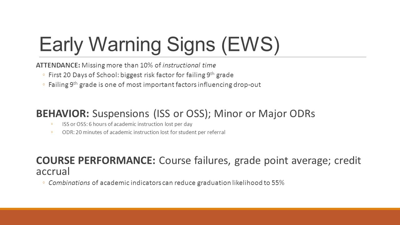 Early Warning Signs (EWS) ATTENDANCE: Missing more than 10% of instructional time ◦First 20 Days of School: biggest risk factor for failing 9 th grade