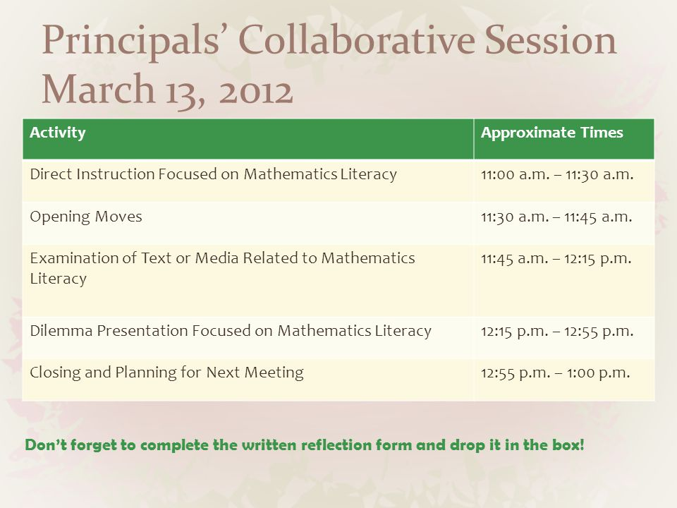 Principals' Collaborative Session March 13, 2012 ActivityApproximate Times Direct Instruction Focused on Mathematics Literacy11:00 a.m. – 11:30 a.m. O