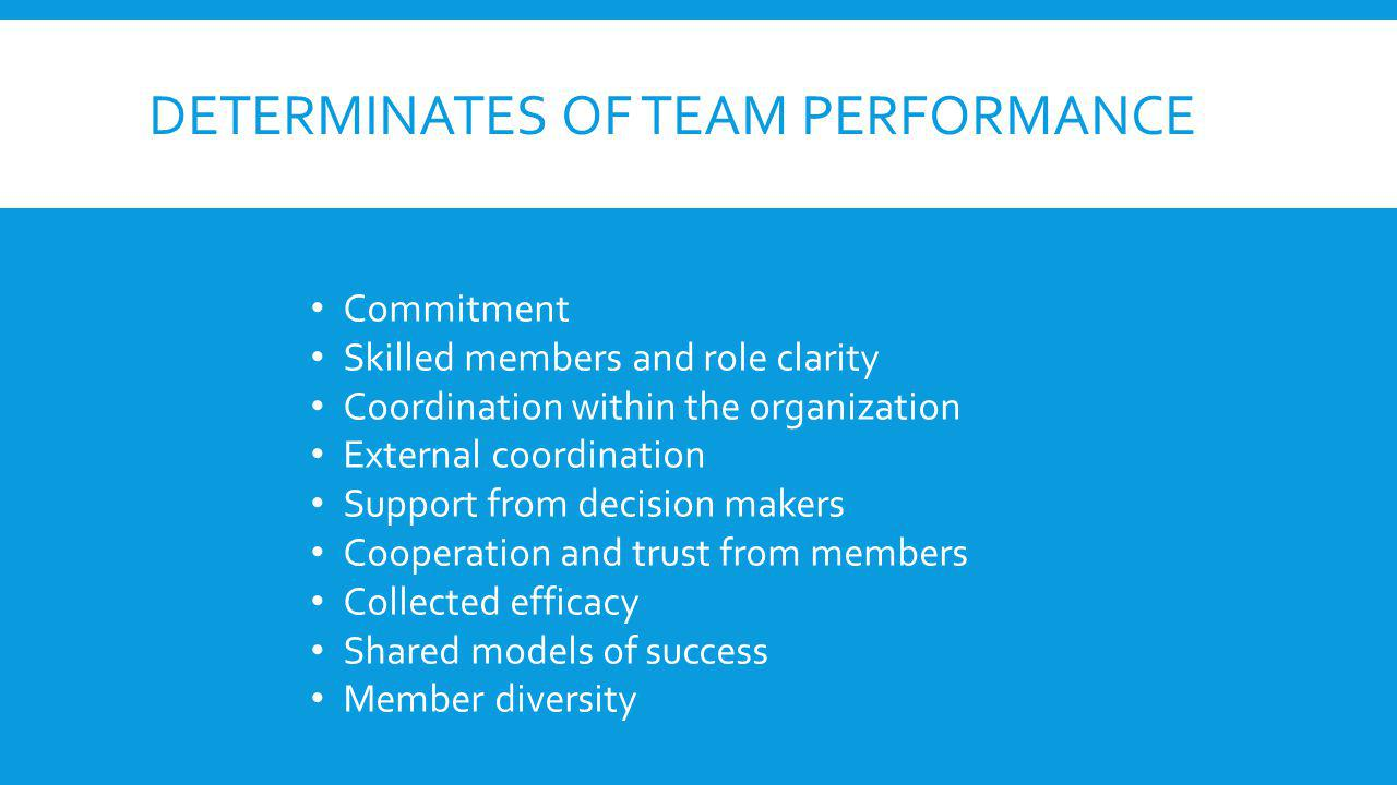 DETERMINATES OF TEAM PERFORMANCE Commitment Skilled members and role clarity Coordination within the organization External coordination Support from decision makers Cooperation and trust from members Collected efficacy Shared models of success Member diversity