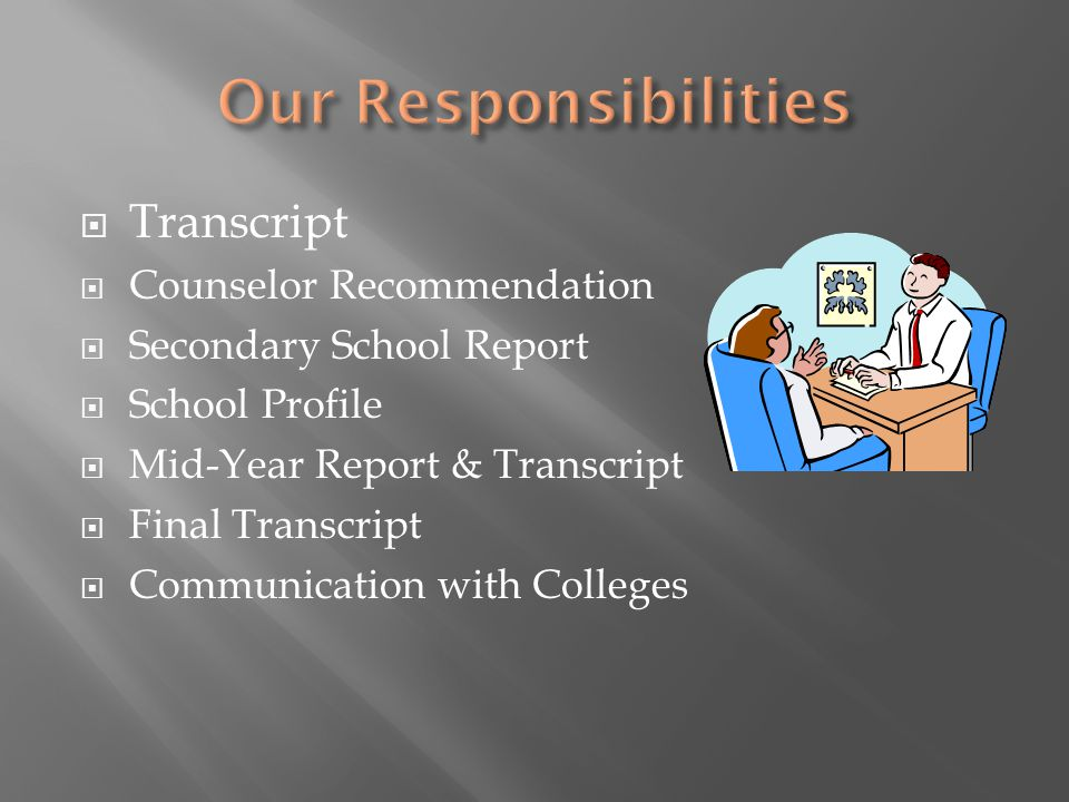  Transcript  Counselor Recommendation  Secondary School Report  School Profile  Mid-Year Report & Transcript  Final Transcript  Communication with Colleges