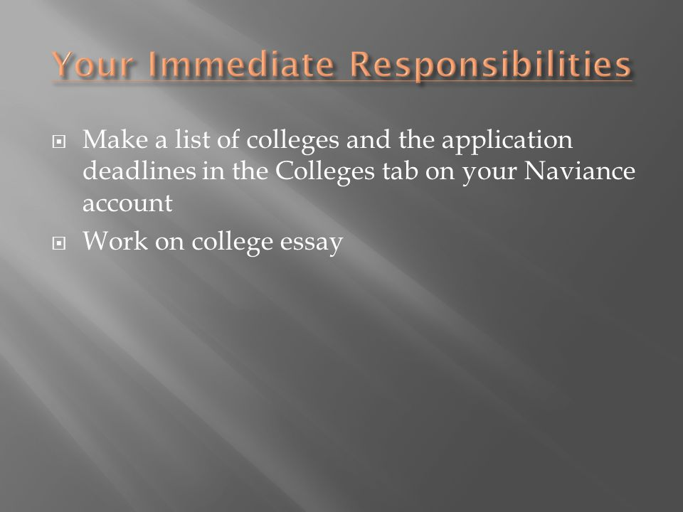  Make a list of colleges and the application deadlines in the Colleges tab on your Naviance account  Work on college essay