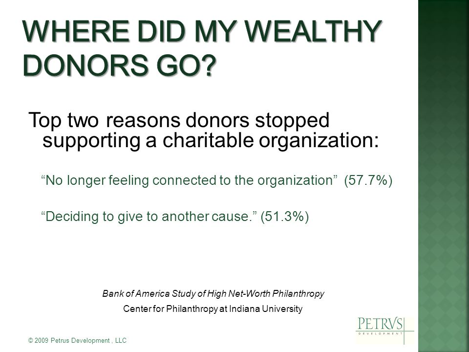 Top two reasons donors stopped supporting a charitable organization: No longer feeling connected to the organization (57.7%) Deciding to give to another cause. (51.3%) Bank of America Study of High Net-Worth Philanthropy Center for Philanthropy at Indiana University © 2009 Petrus Development, LLC