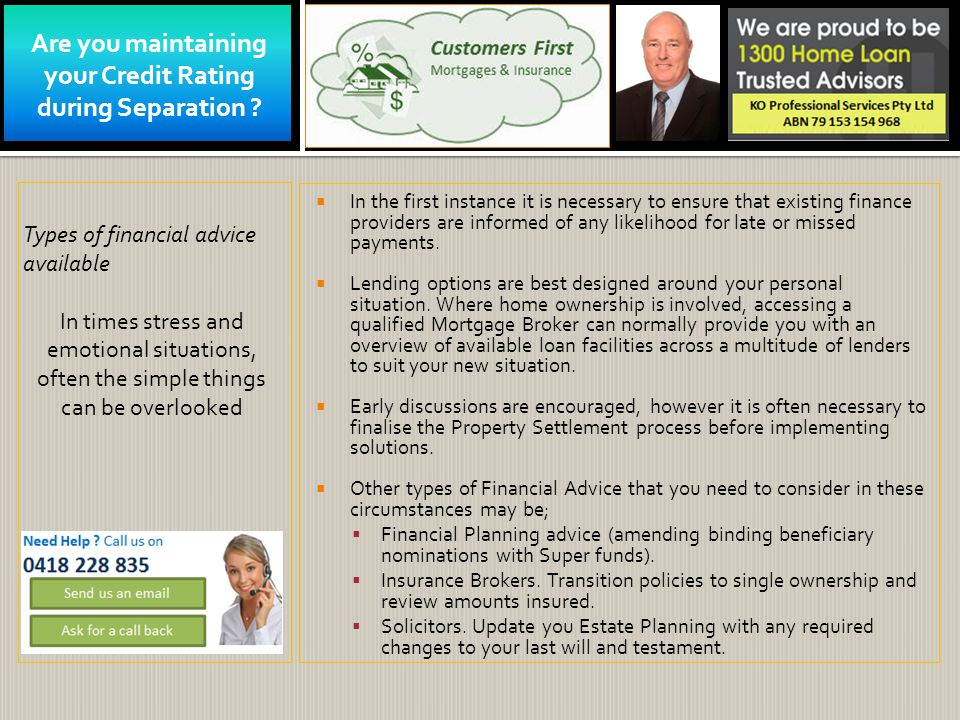 Are you maintaining your Credit Rating during Separation .